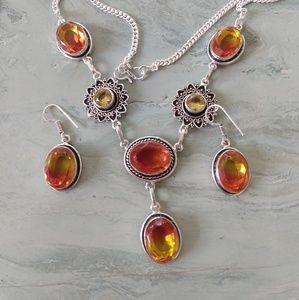 Amazing tourmaline and citrine necklace set